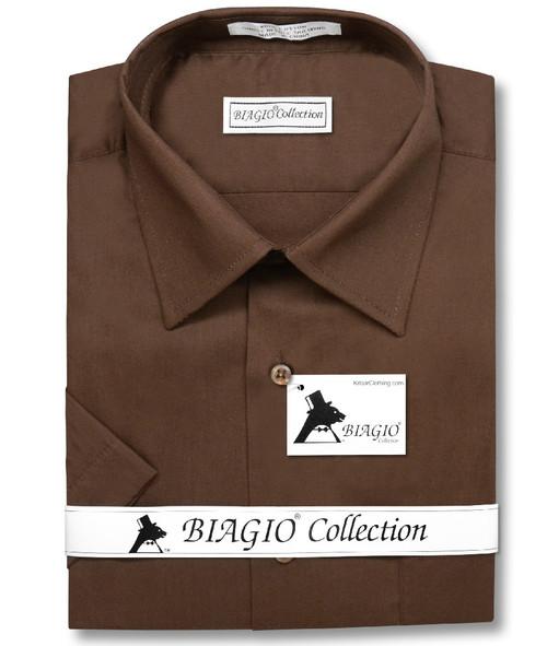 Chocolate Brown Mens Short Sleeve Dress Shirt | Biagio Cotton Shirt