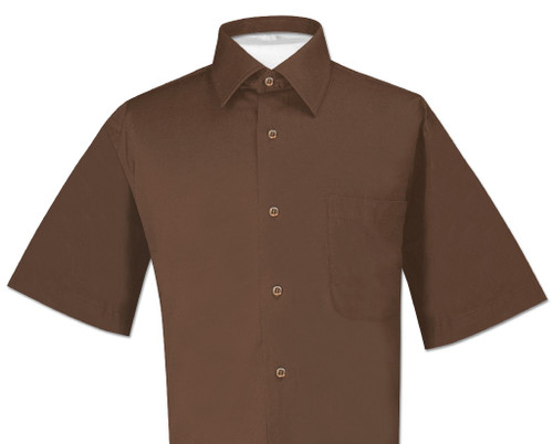 Chocolate Brown Mens Short Sleeve Dress Shirt | Biagio Cotton Shirt