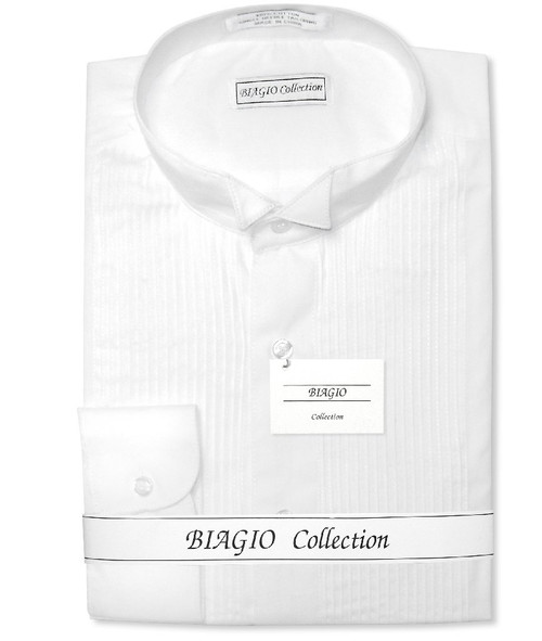 Mens Tuxedo Dress Shirt  | Biagio 100% Cotton White Color Dress Shirt
