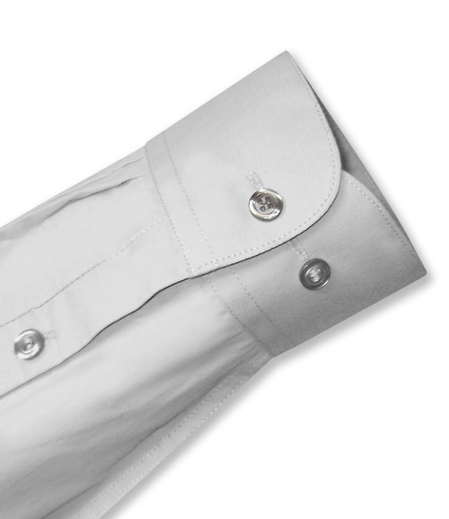 Biagio Mens All Cotton Silver Grey Dress Shirt with Convertible Cuffs