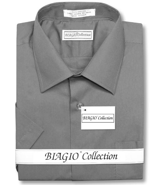 Charcoal Gray Mens Short Sleeve Dress Shirt | Biagio Cotton Shirt