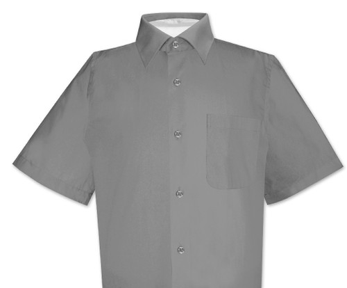 Charcoal Gray Mens Short Sleeve Dress Shirt | Biagio Cotton Shirt