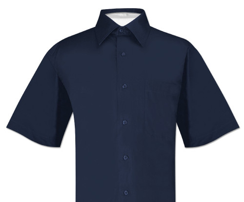 Navy Blue Mens Short Sleeve Dress Shirt | Biagio 100% Cotton Shirt