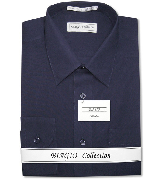 Biagio Mens Cotton Solid Navy Blue Dress Shirt with Convertible Cuffs