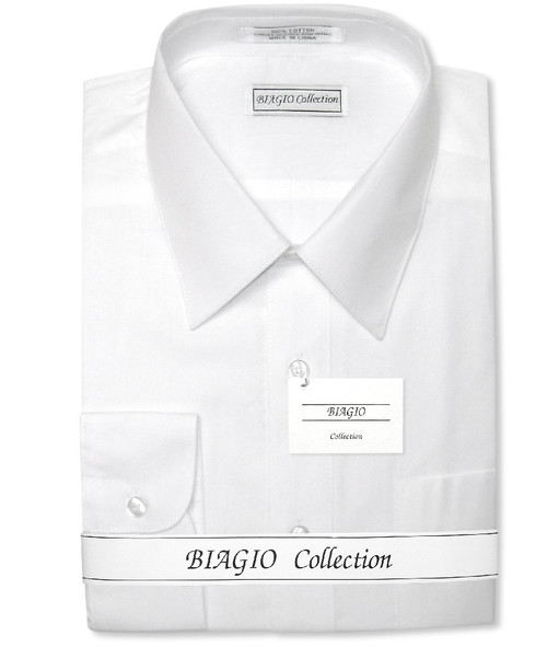 Convertible Cuffs | Solid White Cotton Dress Shirt By Biagio