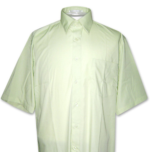 Covona Mens Short Sleeve Solid Mint Green Color Dress Shirt