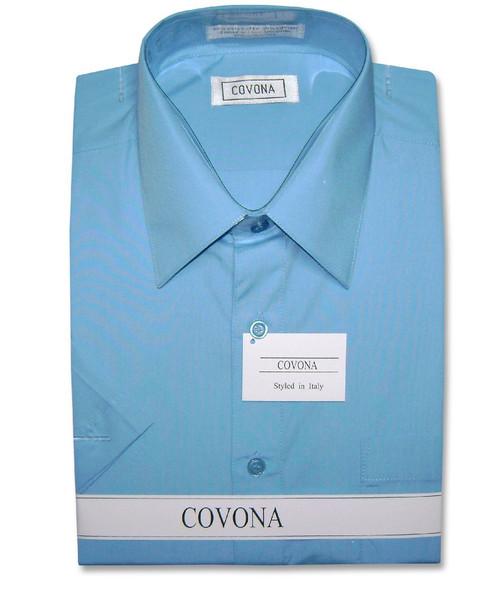 Covona Mens Short Sleeve Solid Peacock Blue Color Dress Shirt
