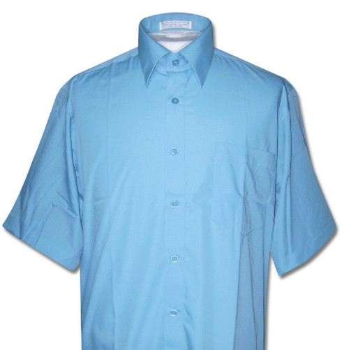 Covona Mens Short Sleeve Solid Peacock Blue Color Dress Shirt