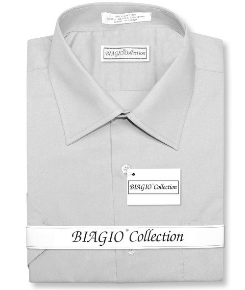 Silver Gray Mens Short Sleeve Dress Shirt | Biagio 100% Cotton Shirt
