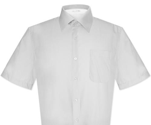 Silver Gray Mens Short Sleeve Dress Shirt | Biagio 100% Cotton Shirt