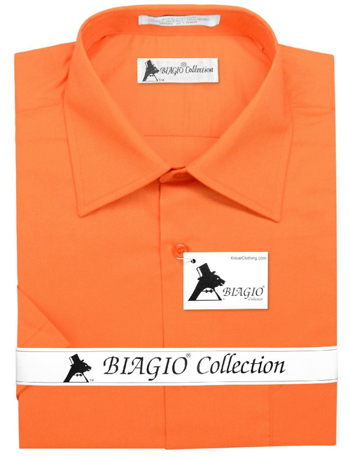 Burnt Orange Mens Short Sleeve Dress Shirt | Biagio Cotton Shirt