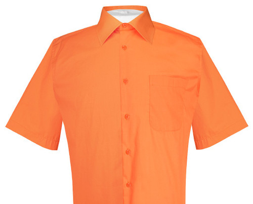 Burnt Orange Mens Short Sleeve Dress Shirt | Biagio Cotton Shirt