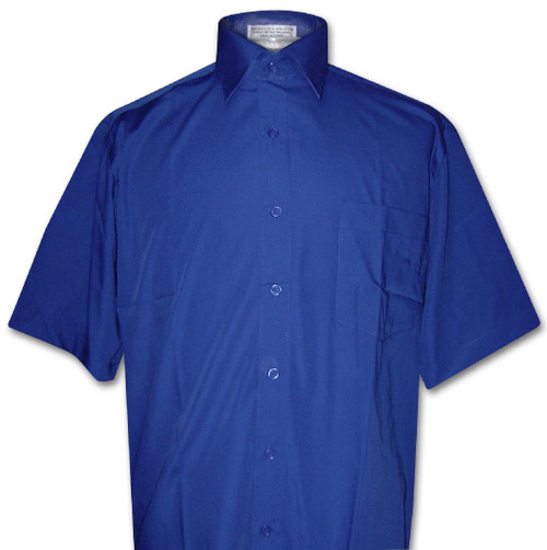 Covona Mens Short Sleeve Solid Royal Blue Color Dress Shirt