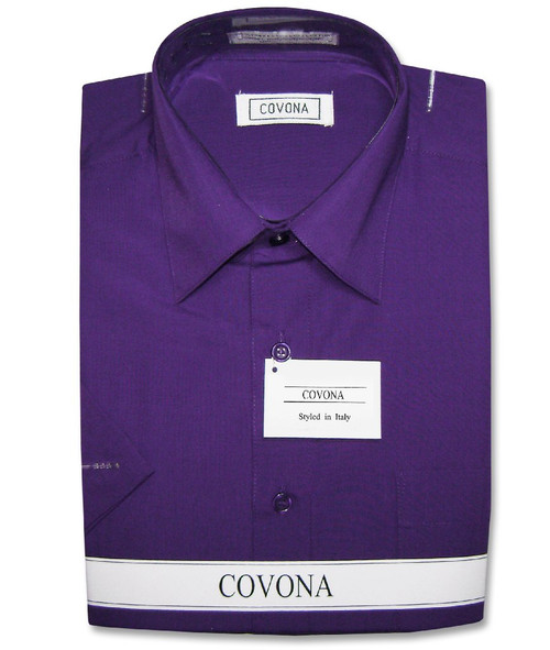 Covona Mens Short Sleeve Solid Purple Indigo Color Dress Shirt