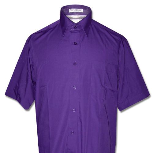 Covona Mens Short Sleeve Solid Purple Indigo Color Dress Shirt