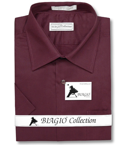 Burgundy Mens Short Sleeve Dress Shirt | Biagio 100% Cotton Shirt