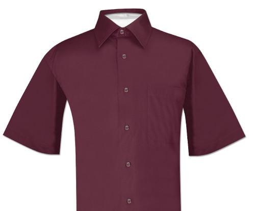Burgundy Mens Short Sleeve Dress Shirt | Biagio 100% Cotton Shirt