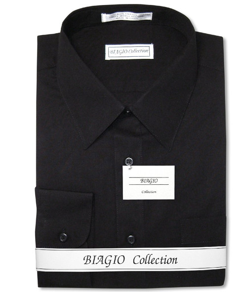 Biagio Mens All Cotton Solid Black Dress Shirt with Convertible Cuffs