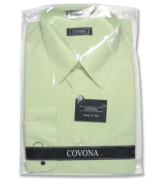 Covona Mens Solid Mint Green Color Dress Shirt with Convertible Cuff