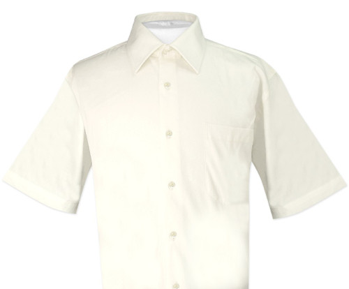 Cream Color Mens Short Sleeve Dress Shirt | Biagio 100% Cotton Shirt
