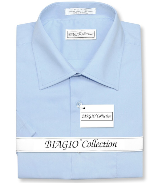 Powder Blue Mens Short Sleeve Dress Shirt | Biagio 100% Cotton Shirt