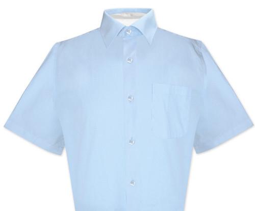 Powder Blue Mens Short Sleeve Dress Shirt | Biagio 100% Cotton Shirt