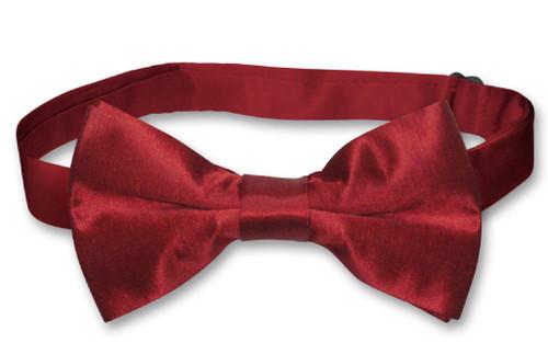 Biagio Bamboo Silk Dark Red BowTie   Solid Color Mens Bow Tie