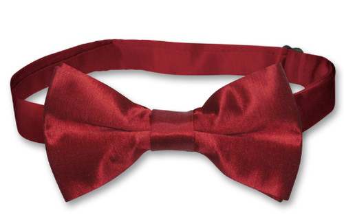 Biagio Bamboo Silk Dark Red BowTie | Solid Color Mens Bow Tie