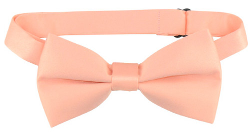 Vesuvio Napoli Boys BowTie Solid Peach Color Youth Bow Tie