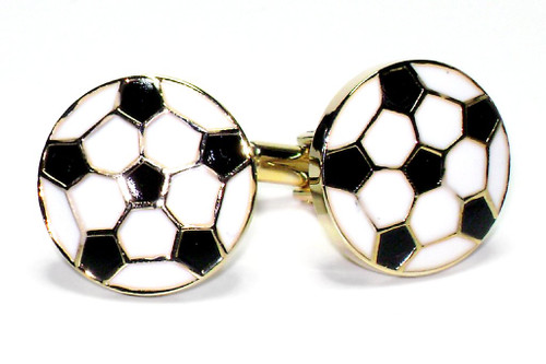 Soccer Ball Cufflinks | Mens Soccer Ball Gold Tone Cufflinks