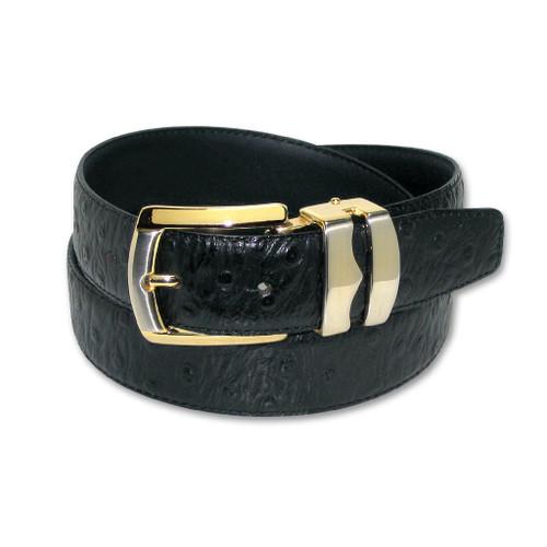 Ostrich Pattern Black Bonded Leather Mens Belt Gold-Tone Buckle