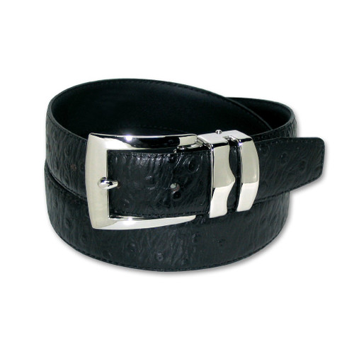 Ostrich Pattern Black Bonded Leather Mens Belt Silver-Tone Buckle