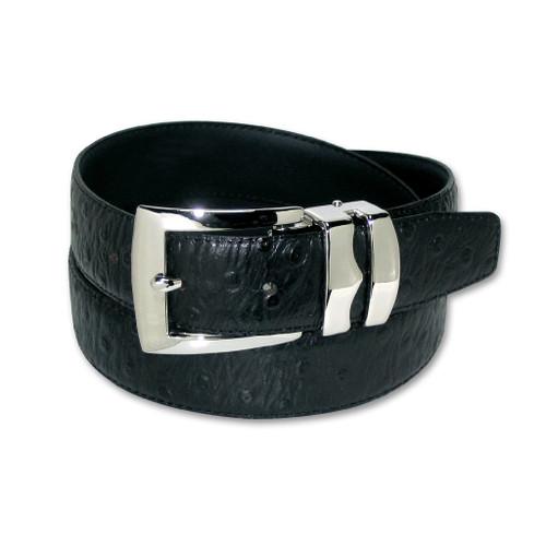 Ostrich Pattern Black Bonded Leather Mens Belt Silver-Tone Buckle