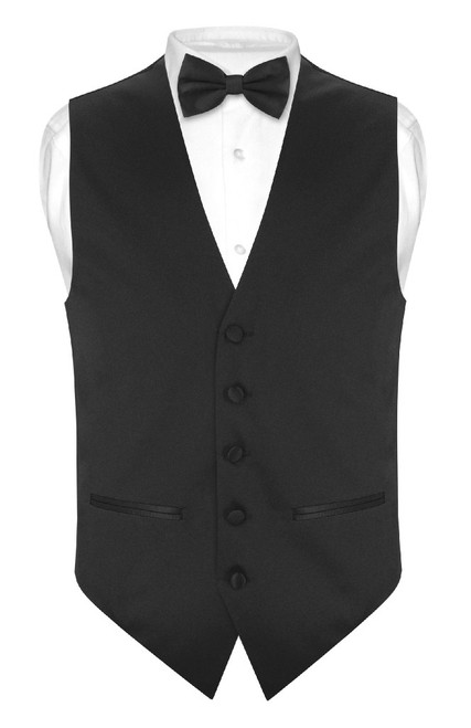 Slim Fit Black Vest | Mens Solid Dress Vest BowTie Handkerchief Set