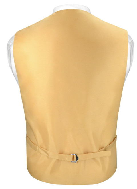 Slim Fit Gold Color Vest | Mens Dress Vest NeckTie Hanky Set