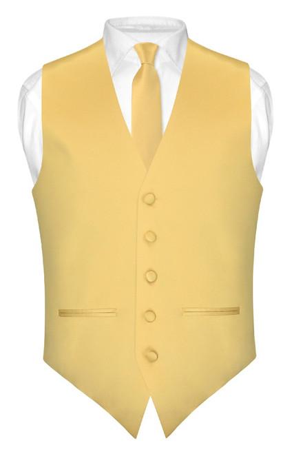 Slim Fit Gold Color Vest | Mens Dress Vest NeckTie Hanky Set