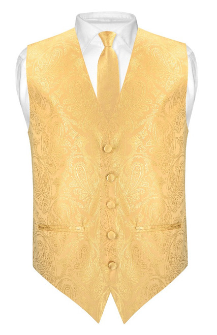 Mens Paisley Slim Fit Dress Vest Skinny NeckTie Gold Tie Hanky Set