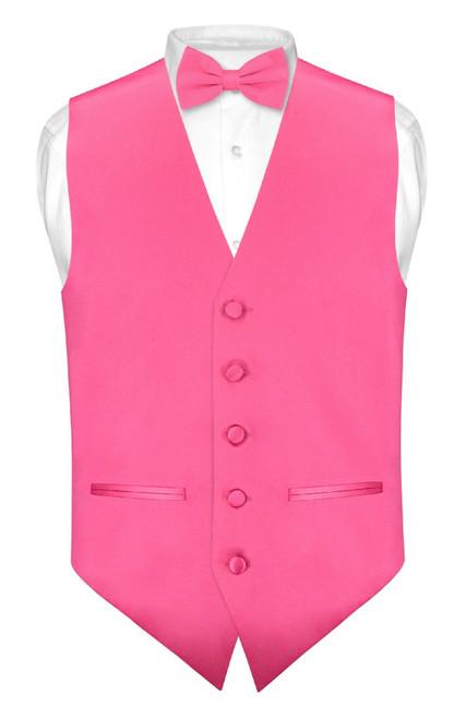 Mens Slim Fit Dress Vest BowTie Hot Pink Fuchsia Bow Tie Hanky Set