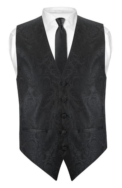 Mens Paisley Slim Fit Dress Vest Skinny NeckTie Black Tie Hanky Set