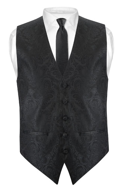 Mens Paisley Slim Fit Dress Vest Skinny NeckTie Black Tie Hanky Set