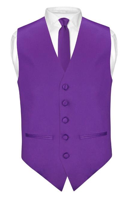 Slim Fit Purple Indigo Vest | Mens Dress Vest NeckTie Hanky Set