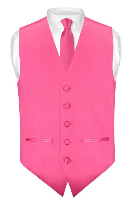 Slim Fit Hot Pink Fuchsia Vest | Men Dress Vest NeckTie Hanky Set