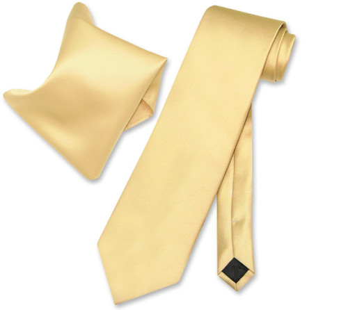 Gold Tie And Pocket Square | Solid Gold Tie And Handkerchief Set