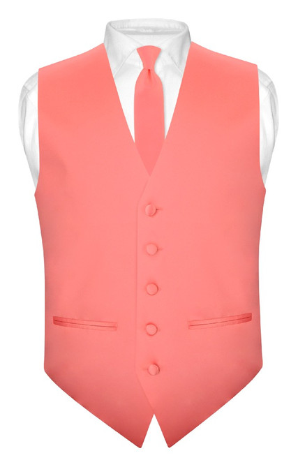 Coral Vest And Tie | Solid Coral Pink Slim Fit Vest And NeckTie Set