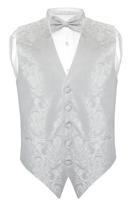 Mens Paisley Slim Fit Dress Vest Bow Tie Silver Grey BowTie Hanky Set