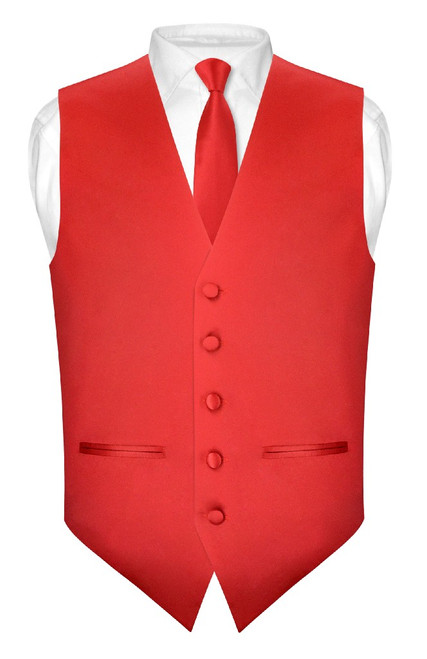 Slim Fit Red Vest | Mens Solid Color Dress Vest NeckTie Hanky Set
