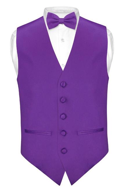 Mens Slim Fit Dress Vest BowTie Purple Indigo Bow Tie Hanky Set