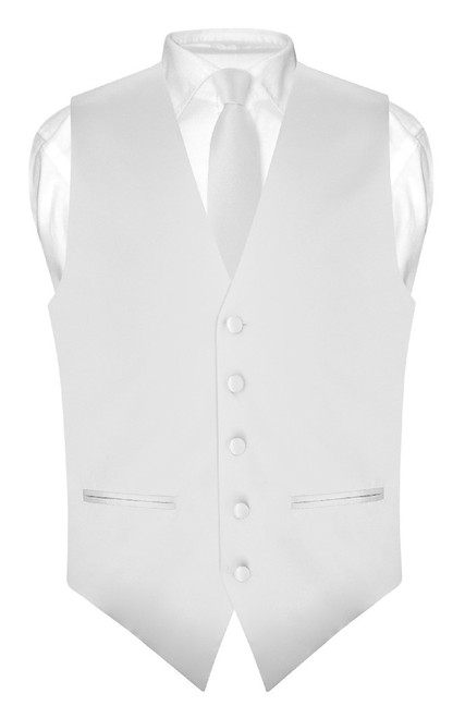 Slim Fit Silver Grey Vest | Mens Solid Color Dress Vest Tie Hanky Set