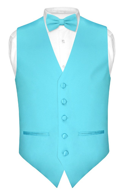 Mens Slim Fit Dress Vest BowTie Turquoise Aqua Blue Bow Tie Hanky Set