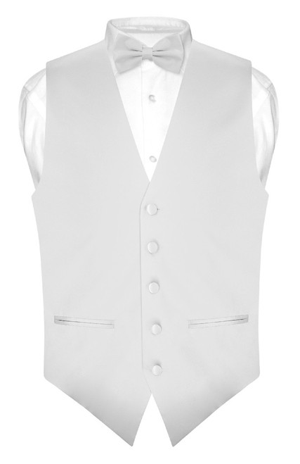 Mens Slim Fit Dress Vest BowTie Silver Grey Bow Tie Handkerchief Set